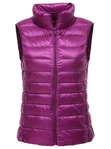 Jacket Packable with Pocket Coat security Hooded Lightweight Vest Outdoor Women's Purple Puffer zYvBxvwA5n