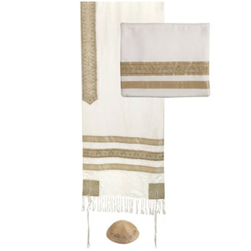 Yair Emanuel Gold Stripes Embroidered Cotton Tallit Set with Kippah 20'' W X 75'' L by Yair Emanuel