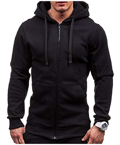 (willwinMen WillingStart Men's Drawstring Big Pockets Casual Zip Hooded Sweatshirts Coat Black S)