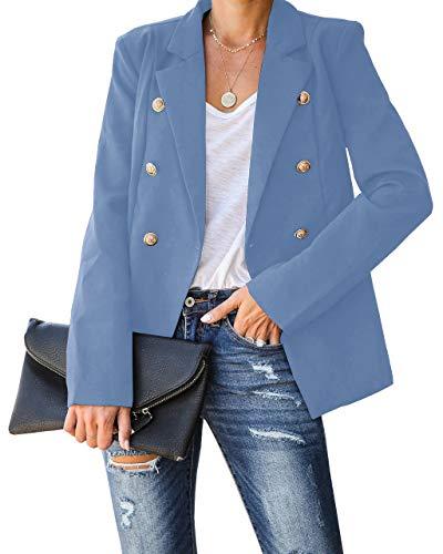 KAMONG Womens Casual Long Sleeve Notch Lapel Blazers Slim Office Work Double Breasted Cardigan Jackets Blue