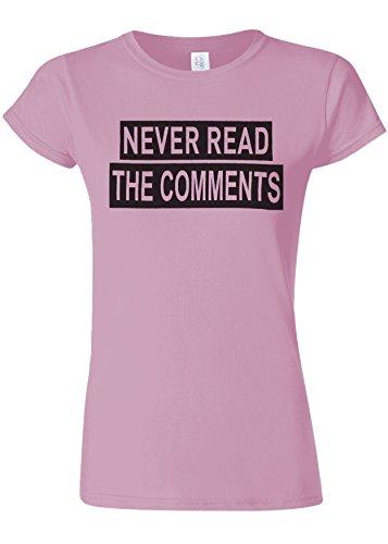 適合しました大宇宙単位Never Read the Comments Internet Novelty Light Pink Women T Shirt Top-S