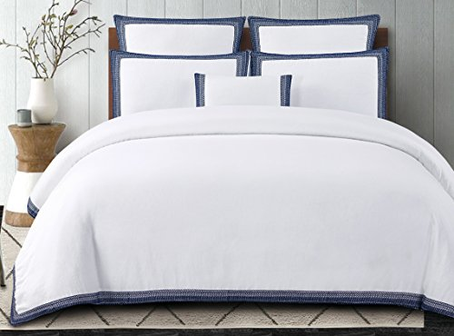 Echelon Home Sofia Embroidered Belgian Linen Duvet Cover Set