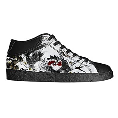 Custom Chinese Oil Painting Mens Classic High Top Canvas Shoes Fashion Sneaker