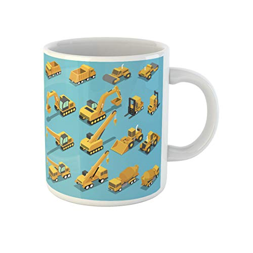 Topyee 11 Oz Coffee Mug Flat 3D is ometric Construction Transport Set Include Excavator Crane Grader Cement Ceramic Tea Cup Mugs Birthday Holiday Gift or Souvenir for Family Friends from Topyee