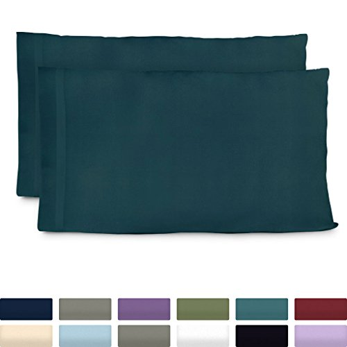 n Luxury Bamboo King Size Pillow Cases - Dark Teal Pillowcase Set of 2 - Ultra Soft & Cool Hypoallergenic Natural Bamboo Blend Cover - Resists Stains, Wrinkles, Dust Mites ()