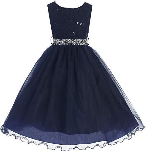(Big Girl Glitters Sequined Bodice Double Layer Tulle Rhinestones Sash Flower Girl Dress Navy 12 JK3670)