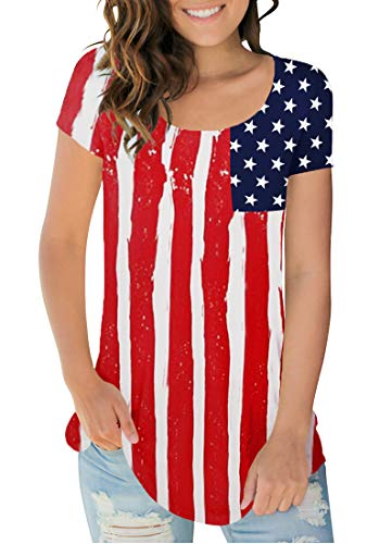 - Sousuoty Fashion Women Patriotic American Flag Tops Casual Scoop Neck Tshirt XXL