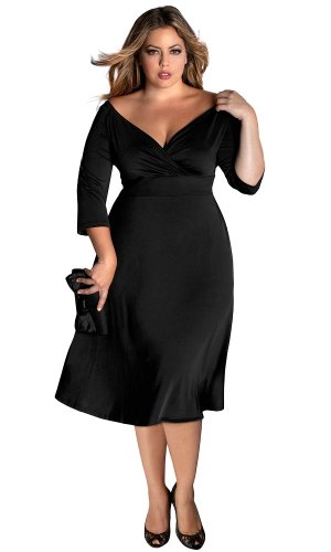 Amazon.com: IGIGI Women's Plus Size Francesca Dress in Black 26/28 ...