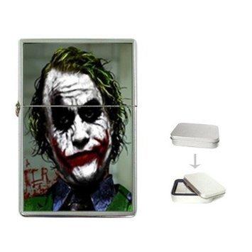 Why So Serious Joker Bat-man Flip Top Cigarette Lighter + free Case Box BM17 Oil Lighter