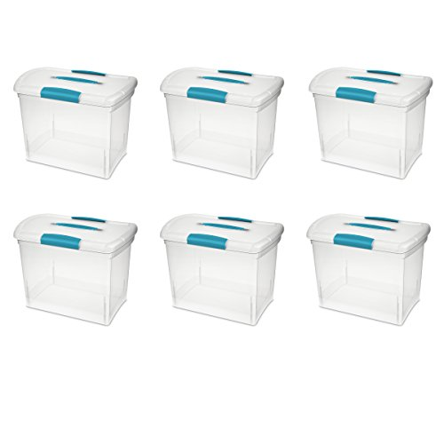 Sterilite 18768606 Large Nesting ShowOffs, Clear with Blue Aquarium Handle and Latches, 6-Pack ()
