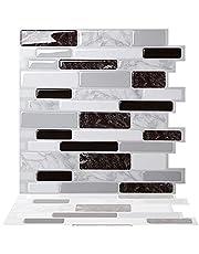 Tic Tac Tiles Schil en plak 3D-tegelsticker zelfklevende stok op wandtegel voor keuken backsplash en badkamer in Polito zwart en wit