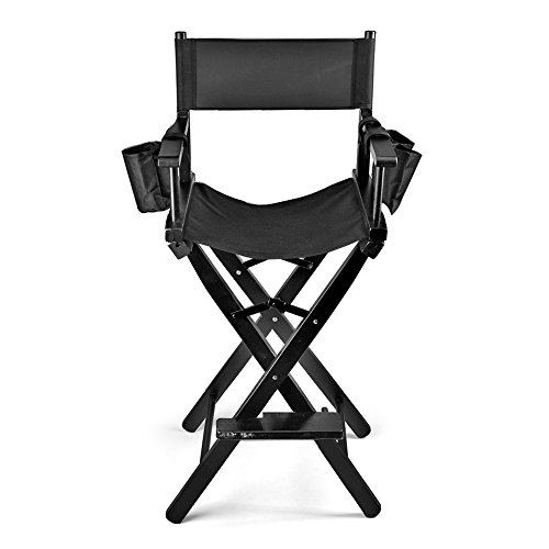 Flexzion Makeup Chair Artist Directors Actor Wood Stool Professional Light  Weight Bar Height Seat Foldable With ...