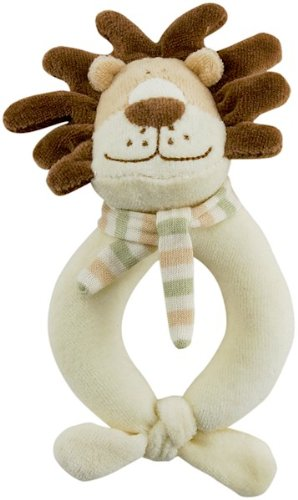 Organic Frog Rattle (Rich Frog Happy Ring Rattle Lion, Soft Plush Baby Toy, Tan Brown - 6