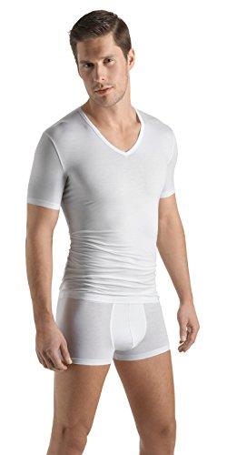 HANRO Men's Cotton Sensation V-Neck T-Shirt 73068, White, -