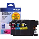 Brother Genuine High Yield Color Ink Cartridge, LC1033PKS, Replacement Color Ink Three Pack, Includes 1 Cartridge Each of Cyan, Magenta & Yellow, Page Yield Up To 600 Pages/Cartridge, LC103