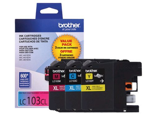 Office Products : Brother Genuine High Yield Color Ink Cartridge, LC1033PKS, Replacement Color Ink Three Pack, Includes 1 Cartridge Each of Cyan, Magenta & Yellow, Page Yield Up To 600 Pages/Cartridge, LC103