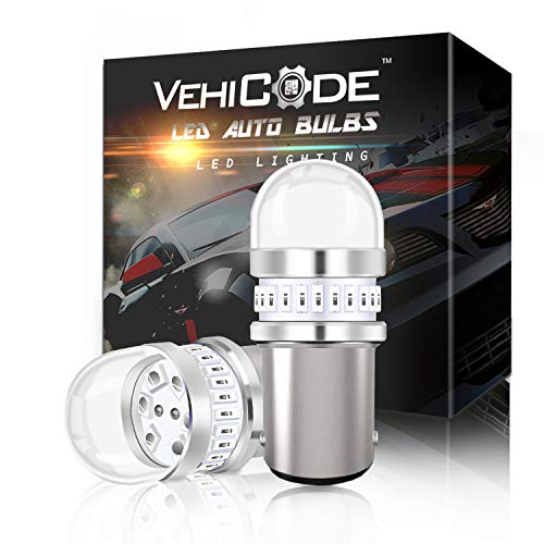 VehiCode Bright 950Lms 1157 Red LED Light Bulb Kit - 2357 2057 7528 1157A 1034 BAY15D Dual Contact Function Replacement for Car Harley Motorcycle Rear Turn Signal Tail Brake Stop - Red Bright Led Replacement Bulb