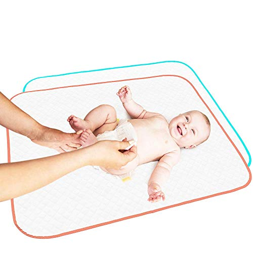 Portable Changing Pad Large Size 25.5'x31.5' Pack of 2 - Vinyl Waterproof Reusable Baby Changing Mats for Girls Boys - Reinforced Seams & Free Storage Bag - Change Diaper Mat - Extended Warranty 2 y