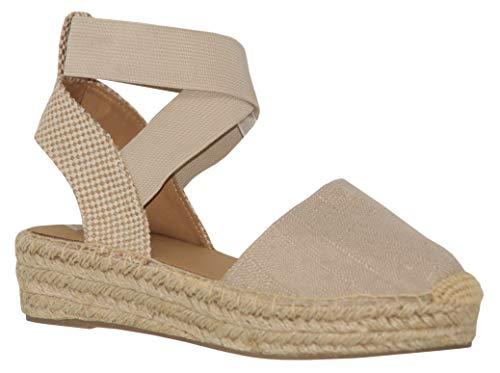 MVE Shoes Women's Stylish Platform Strappy Closed Toe Espadrille Sandal, Tamy NAT Linen -