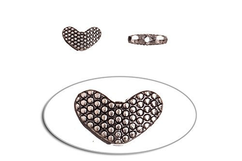 Pewter Beads, Burnished Silver Plated, Dotted Patterned Heart, 8x13mm sold per 10pcs/pack (3pack bundle), SAVE $2