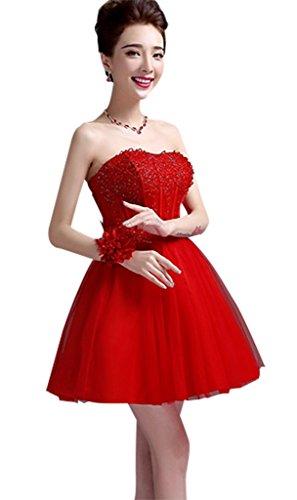 Drasawee Sexy Bustier Courte Perles De Rouge Robe De Soirée Robe De Demoiselle D'honneur Des Femmes