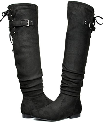 DREAM PAIRS Women's Colby Black Over The Knee Pull On Boots - 8.5 M US