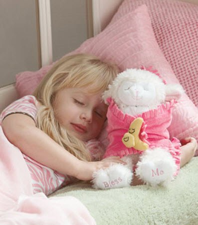 11″ Praying Lambs Blanket Babies With Sound Prays Now I lay Me Down To Sleep (Pink for a Baby Girl), Baby & Kids Zone