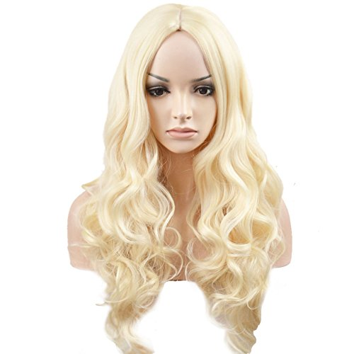 BERON Long Wavy Charming Full Synthetic Wigs for Women Girls Natural Curly Wigs with Wig Cap (Light Blonde)]()