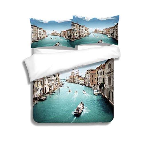 Home Duvet Cover Set,Grand Canal and Basilica Santa Maria Della Salute Venice Italy,Soft,Breathable,Hypoallergenic,Print Quilt Cover Set White Queen Pattern Bedding Collection