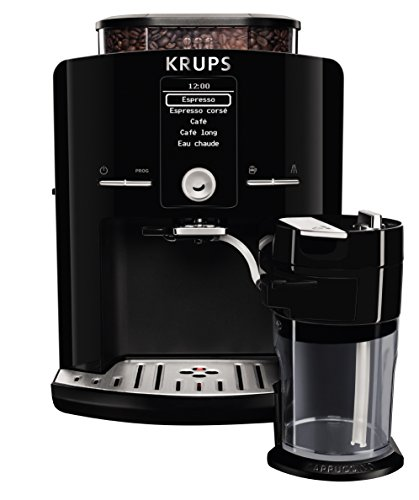 KRUPS EA8298 Super Automatic Latte Espresso Compact Size Espresso Machine with Integrated Frothing Pitcher Cappuccino and Milk Frother, 57-Ounce, Black
