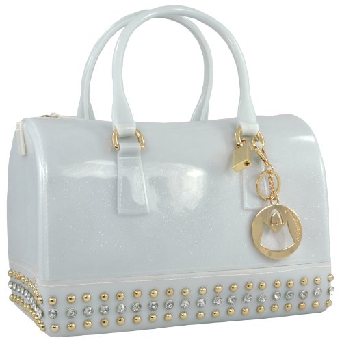 Jelly Purse Handbag (MG Collection Mila Glitter Studded Candy  Handbag, opaque white, One)