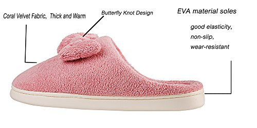 Womens Slip Home Anti Slippers Lightweight Pink Knot Velvet Butterfly Shoes Sole Coral rZOwfqr0