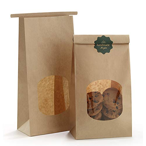 (BagDream Bakery Bags with Window Kraft Paper Bags 100pcs 4.5x2.36x9.6