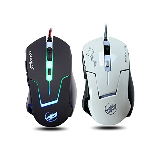 Gaming Mouse, YAMAY USB Corded Wired Optical 6D 6 Button 2400 DPI 0.8mm with Blue Light Flashing Anti-Slip Built in weighting Iron Professional for Computer Laptop Desktop PC Gamer Game ()