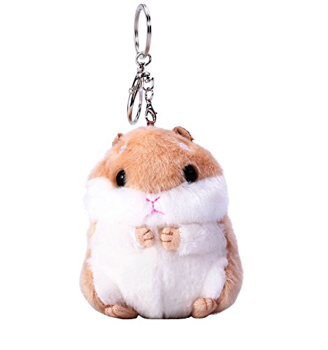 Women's Cute Hamster Plush Keychain Stuffed Animals Key Chain Charm Handbag Bag Purse Pendant(Brown) (Pendant Purse)