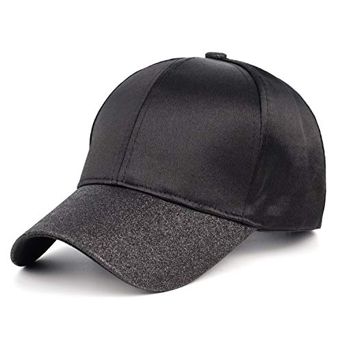 (FADA Black Glitter Ponytail Hat Baseball Cap with Ponytail Hole High Bun Hat for Women All Hat)