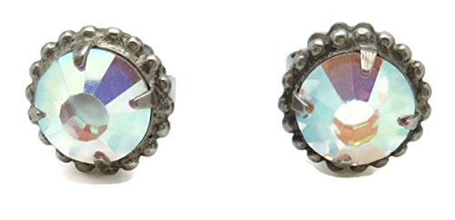 SORRELLI Crystal AB Round Cut Antique Silvertone Post Stud (Sorrelli Designer Earrings)