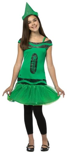 Rasta Imposta Crayola Illuminating Emerald Glitz & Glitter Dress, Green, Tween (Crayola Tween Green Crayon Costumes)