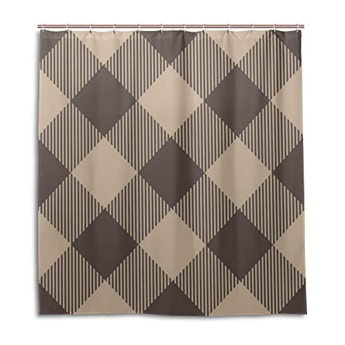 (Amanda Billy Elegant Coffee Color Checkered Pattern Natural Home Shower Curtain, Beaded Ring, Shower Curtain 72 x 72 Inches, Modern Decorative Waterproof Bathroom Curtains )