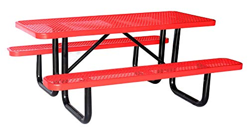 Lifeyard 6' Rectangular Picnic Table, Expanded Metal, Red (72