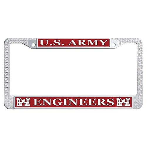 Hensteelna US Army Engineers Sparkle Crystal License Frame U.S. Army Glitter Crystal Auto License Tag Holder (White,1 pic, 6' x 12' in) ()