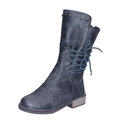 Cenglings Women Mid-Calf Boots Round Toe Rivets Shoes Zipper Lace Up Low Chunky Heel Flat Shoes Knight Boots