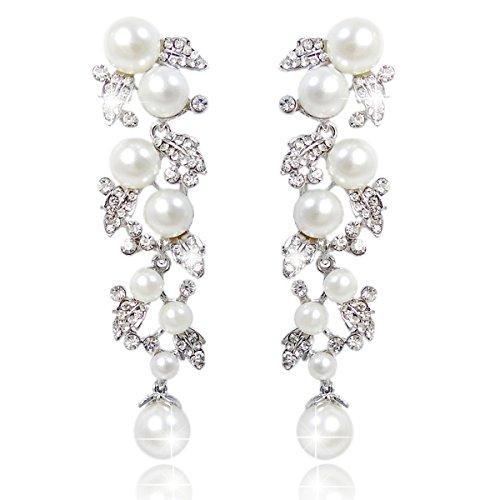 rystal Cream Simulated Pearl Bridal Leaf Dangle Earrings Clear Silver-Tone ()