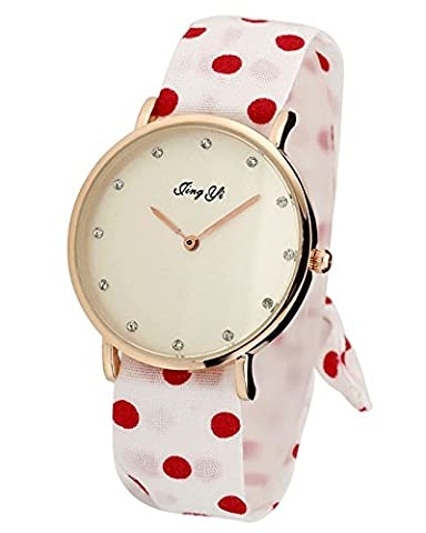 Top Plaza Retro Womens Girls Fashion Polka Dot Floral Fabric Cloth Vintage 1950's Spring Garden Analog Quartz Bracelet Watch(Red On (Floral Wrap Around Watch)