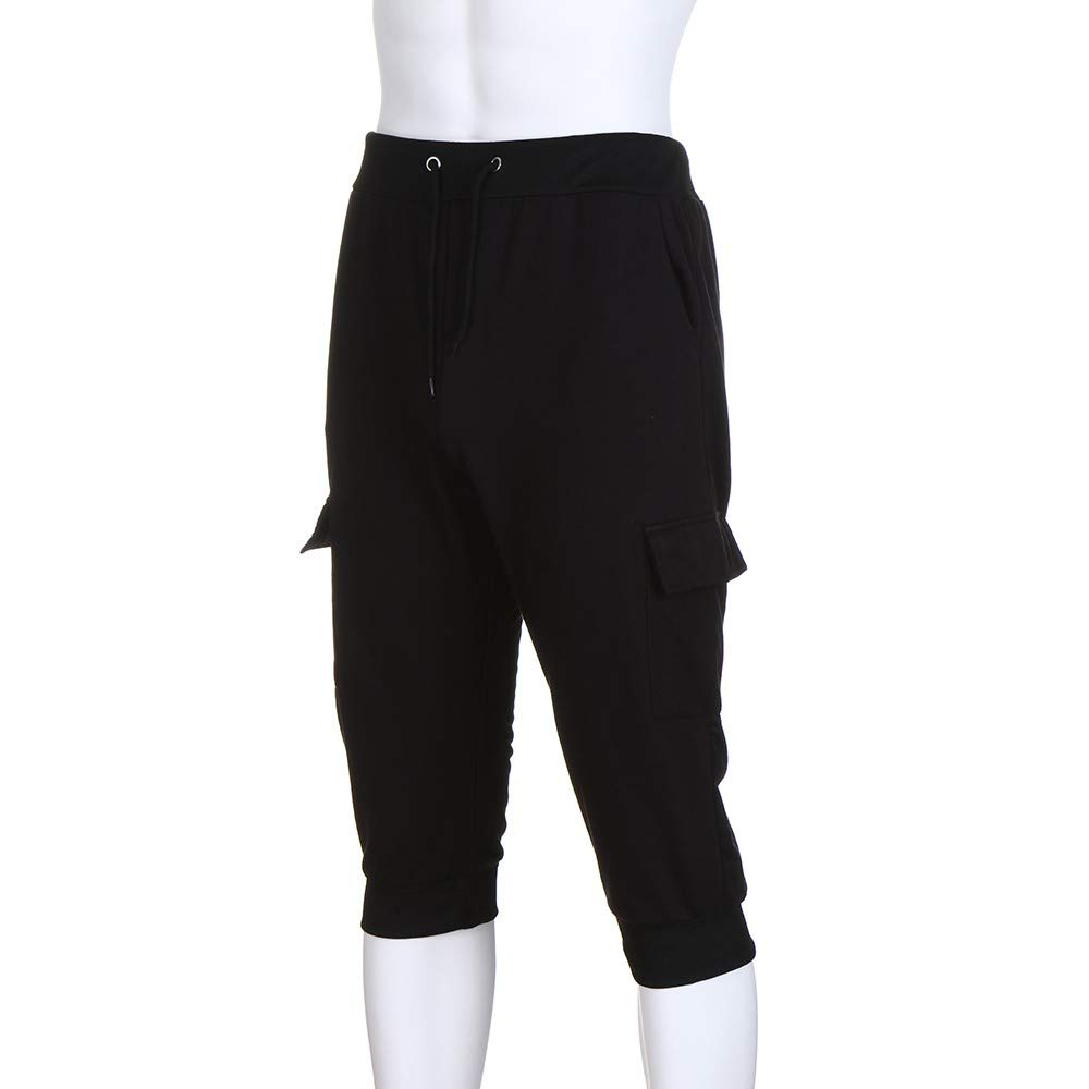 Spbamboo Mens Casual Shorts Pockets Elastic Waist Solid Slim Fit Sport Pants by Spbamboo (Image #5)
