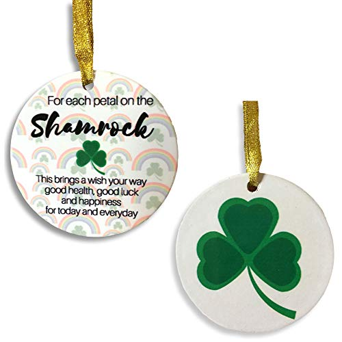 BANBERRY DESIGNS - Ceramic Printed Ornament with Green Shamrock Designs and The Irish Good Luck Saying - St. Patrick's Day Decor