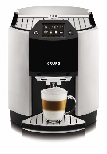 KRUPS EA9000 Barista Super Automatic One Touch Cappuccino Machine with Automatic Rinsing and KRUPS Two-Step Milk Frothing Technology, Silver