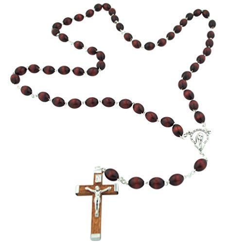 Italian Wood Bead Rosary with Wood Crucifix