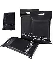 """60 plastic verzendtassen zwart 250 x 350 mm met """"Thank You"""" verzendtassen ondoorzichtig en scheurvast, draagbare enveloppen met zelfklevende strepen"""