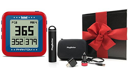 Bushnell Phantom (USA - Red) Gift Box Bundle | with PlayBetter Portable Charger, USB Car/Wall Adapters & Hard Protective Case | Handheld Golf GPS, Built-in Golf Cart Mount Magnet | Black Gift Box